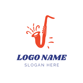 Orange Saxophone and Jazz logo design