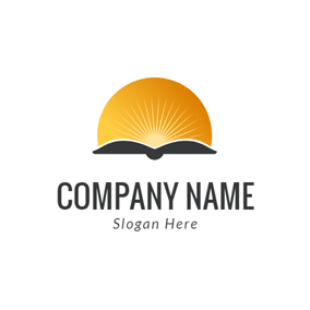 Orange Sun and Black Book logo design