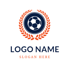 Orange Wheat and Black Football logo design