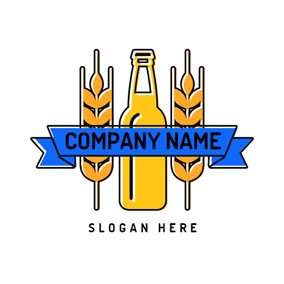 Orange Wheat and Yellow Beer Bottle logo design