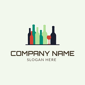 Orange Wine Glass and Blue Bottle logo design