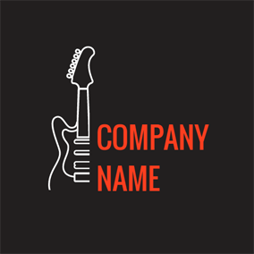 Outlined Black Guitar logo design