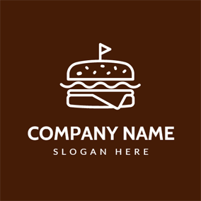 Outlined White and Maroon Burger logo design