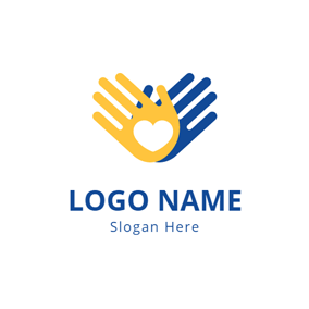 Overlapping Hand and Charity logo design