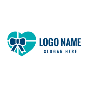 Packaged Blue Bowknot and Heart logo design