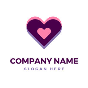 Pink and Purple Heart logo design