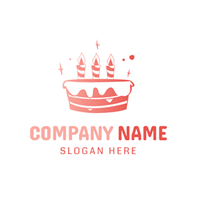 Pink and White Birthday Cake logo design