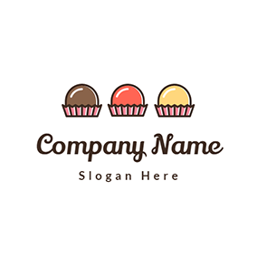 Pink and Yellow Cupcake logo design