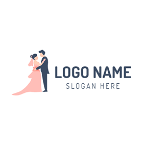 Pink Bride and Black Bridegroom logo design