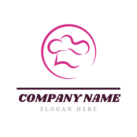Pink Circle and Abstract Chef Hat logo design