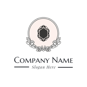 Pink Circle and Black Diamond logo design