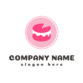 Pink Circle and Cylindrical Cake logo design