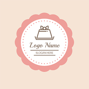 Pink Circle and White Cake logo design