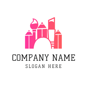 Pink Pencil and Brush logo design