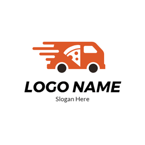 Pizza Outline and Food Truck logo design