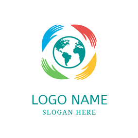 Protective Hand and Green Earth logo design