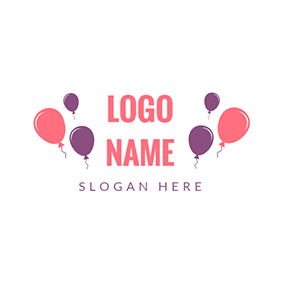 Purple and Pink Balloon logo design