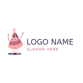 Purple and Pink Cartoon Hat logo design