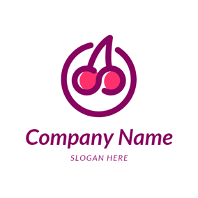 Purple Circle and Cherry logo design