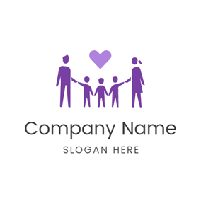 Purple Heart and Close Family logo design