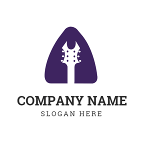Purple Triangle and Guitar logo design