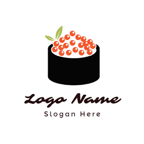 Red and Black Caviar Sushi logo design