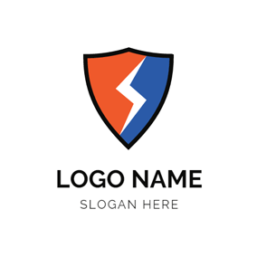 Red and Blue Shield and Lightening logo design