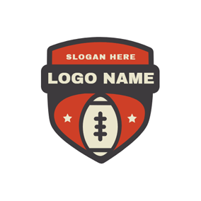 Red and Brown Badge logo design