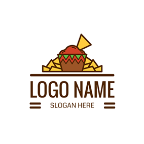 Red and Brown Mexican Fast Food logo design