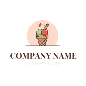 Red and Green Ice Cream Cone logo design