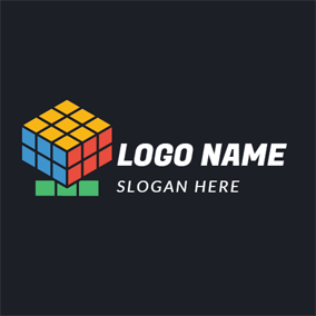 Red and Orange Magic Cube logo design