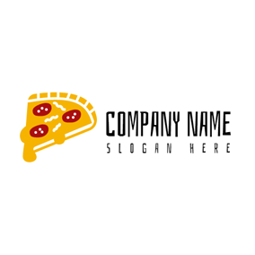 Red and Orange Pizza logo design