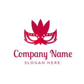 Red and White Feather Mask logo design