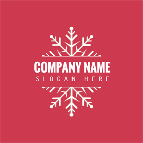 Red and White Snowflake logo design