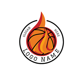 Red and Yellow Basketball Badge logo design