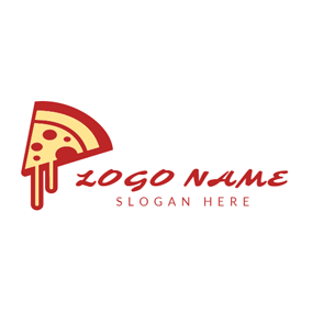 Red and Yellow Cheese Pizza logo design