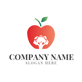 Red Apple and White Broccoli logo design