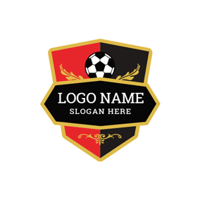 Red Badge and Black Football logo design
