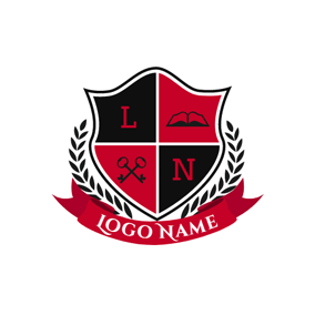 Red Banner and Branch Encircled Badge logo design