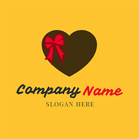 Red Bowknot and Brown Heart Chocolate logo design