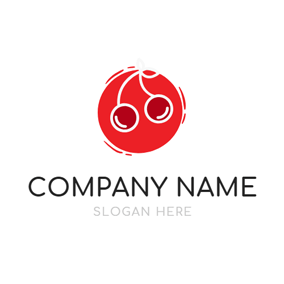 Red Circle and Fresh Cherry logo design