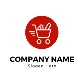 Red Circle and White Shopping Cart logo design