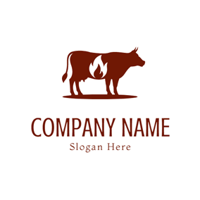 Red Cow and White Fire logo design