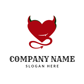 Red Devil and Heart logo design