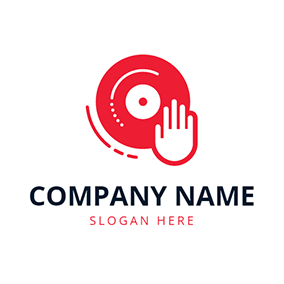 Red Disc and White Hand logo design