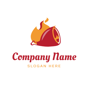 Red Drumstick and Fire logo design