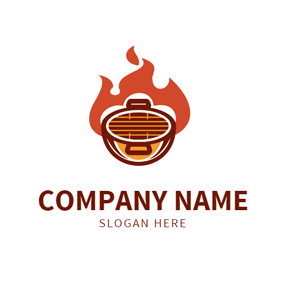 Red Fire and Brown Grill logo design