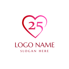 Red Heart and 25th Anniversary logo design