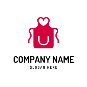 Red Heart and Apron logo design