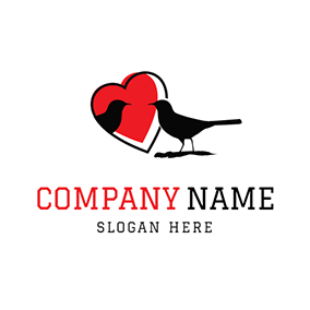Red Heart and Black Magpie logo design